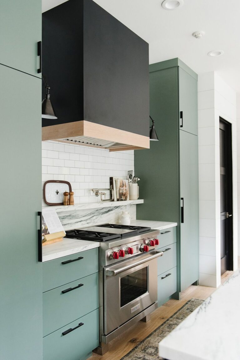 36 Inspiring Green Gray Interior Spaces - IMAGE: via Studio McGee, feat. paint color 'Caldwell Green' from Benjamin Moore.