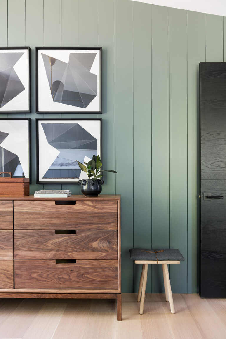 36 Inspiring Green Gray Interior Spaces - Image via Studio McGee, feat. paint color 'Nitty Gritty' from Portola Paints and Glazes.