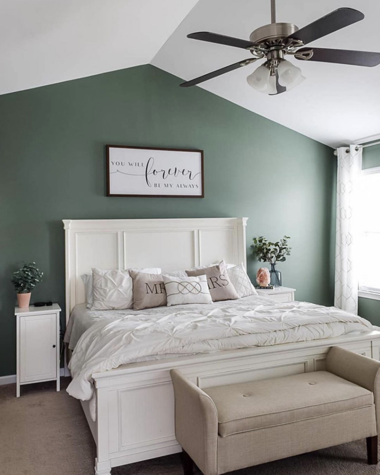 36 Inspiring Green Gray Interior Spaces - IMAGE: via @ourhomemadeeasy on Instagram, feat. paint color 'Privilege Green SW 6193' from Sherwin Williams.