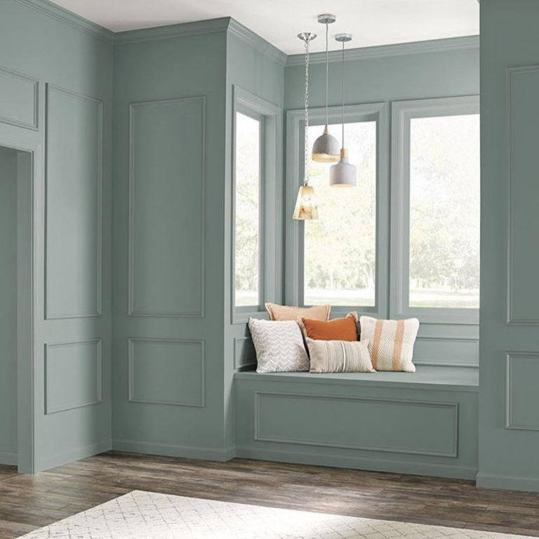 36 Inspiring Green Gray Interior Spaces - IMAGE: via @behrpaint, feat. paint color 'In the Moment' from Behr Paint.