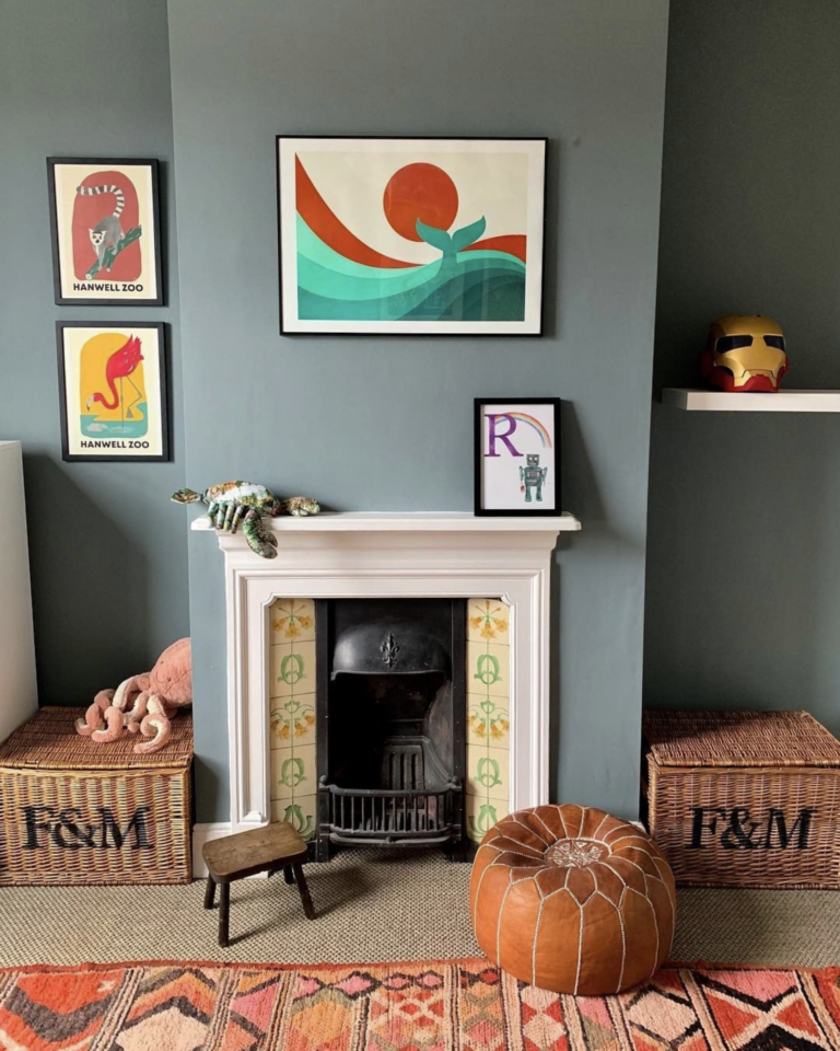 36 Inspiring Green Gray Interior Spaces - IMAGE: via @cassonlondon on Instagram feat. 'DeNimes' from Farrow and Ball.