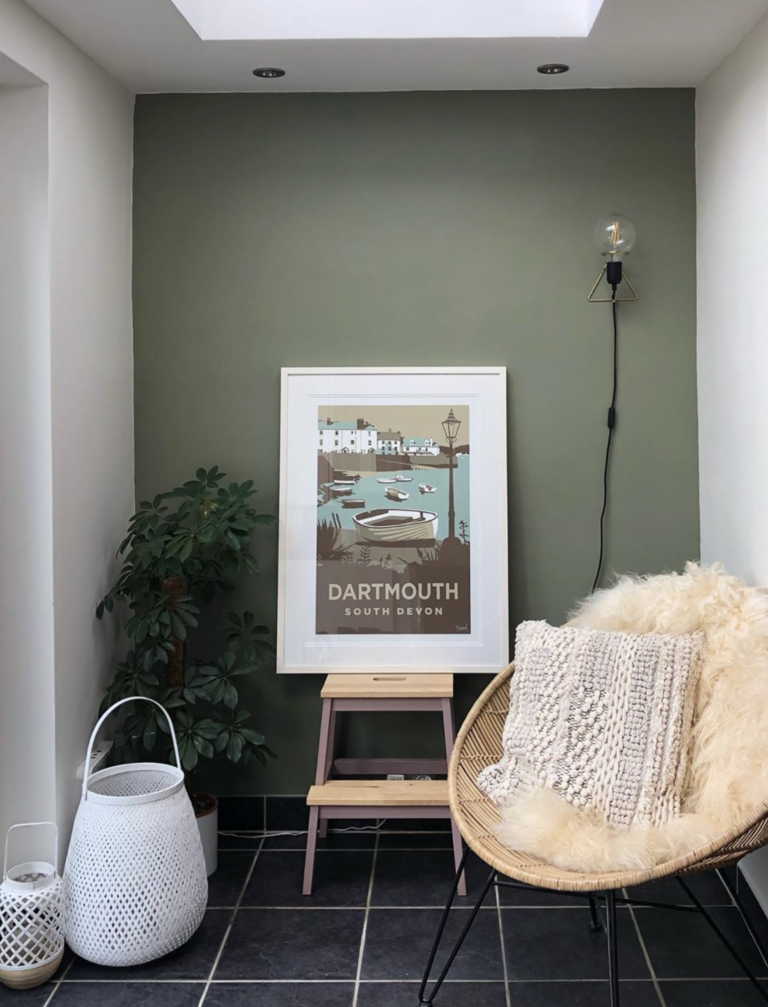 36 Inspiring Green Gray Interior Spaces - IMAGE: via @ruthfoley on Instagram, feat. 'Treron' from Farrow and Ball.