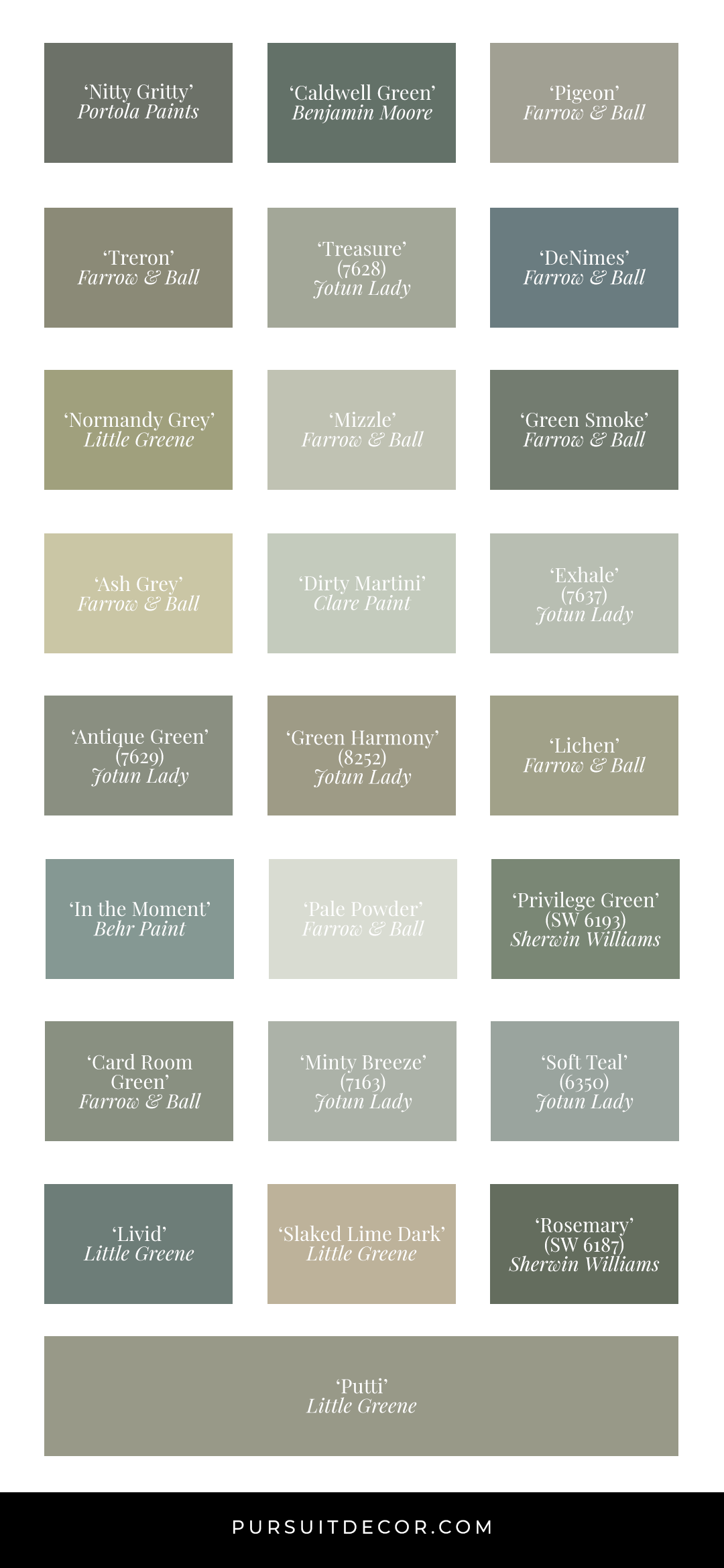 36 Inspiring Green Gray Interiors (with Paint Color Names) - Paint swatches