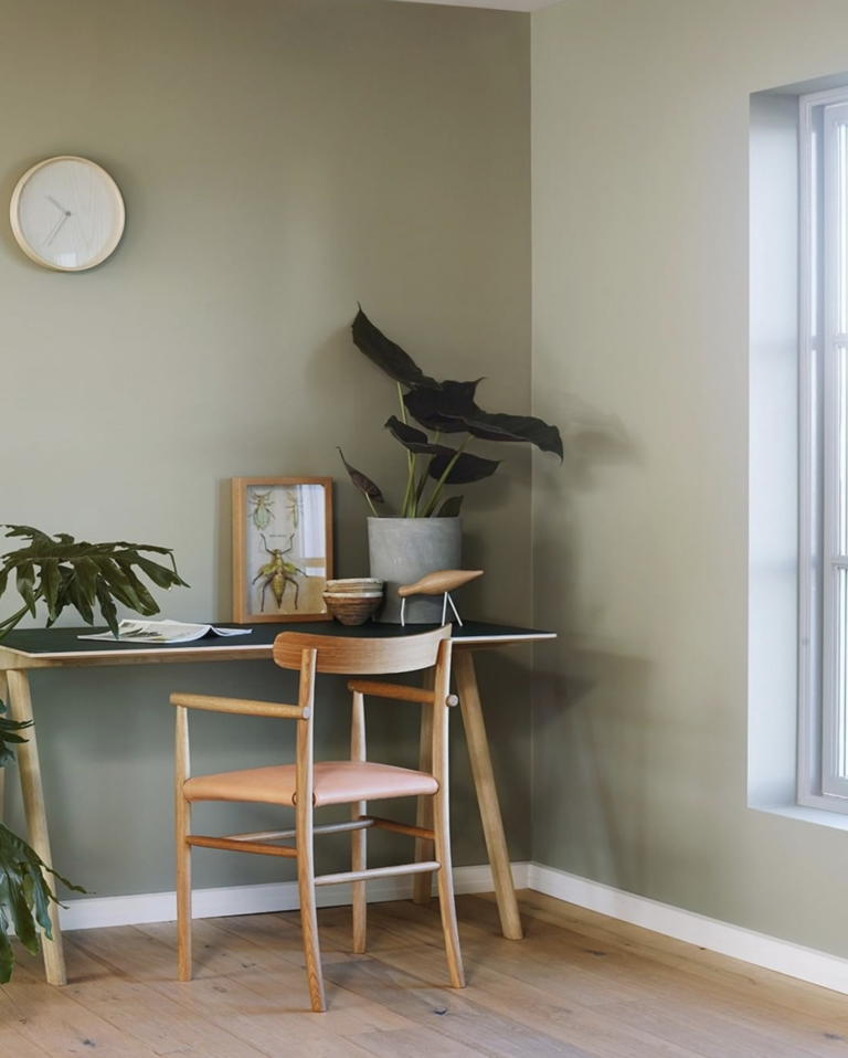36 Inspiring Green Gray Interior Spaces - IMAGE: via @jotunlady on Instagram, feat. paint color 'Lady 8252 Green Harmony' from Jotun Lady.