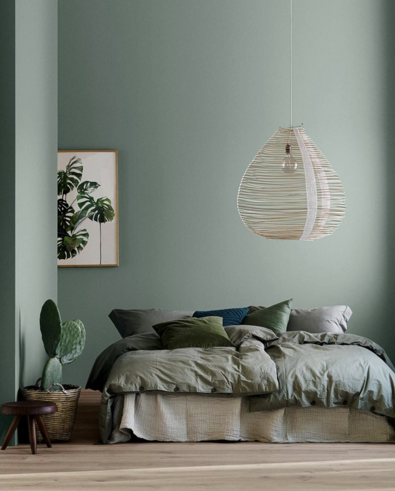 36 Inspiring Green Gray Interior Spaces - IMAGE: via @jotunlady on Instagram, Photography by @linethitklein, Styling by @kraakvikdorazio feat. paint color 'Lady 6350 Soft Teal' from Jotun Lady.