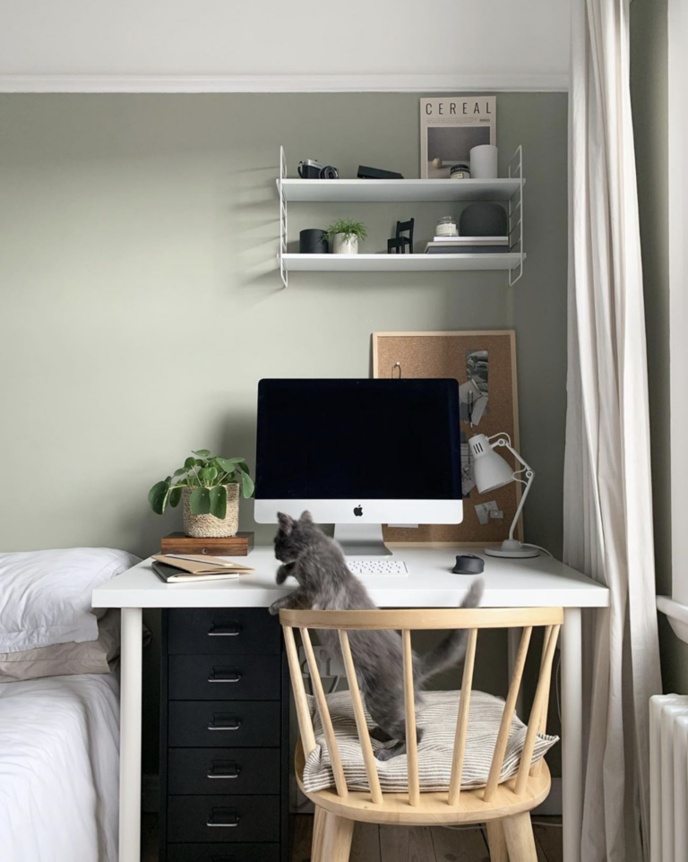 36 Inspiring Green Gray Interior Spaces - IMAGE: via @holly.beechener on Instagram, feat. 'Normandy Grey' from Little Greene Paint Company.