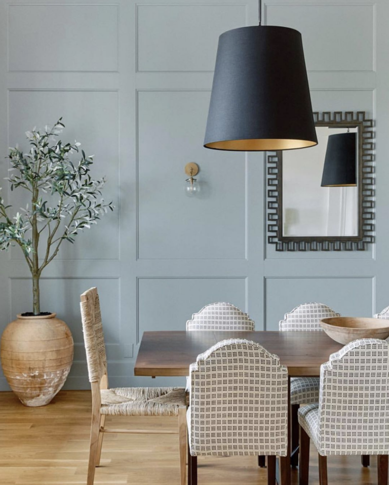 36 Inspiring Green Gray Interior Spaces - IMAGE: via @ccandeminteriors on Instagram, feat. paint color 'Pigeon' from Farrow and Ball.