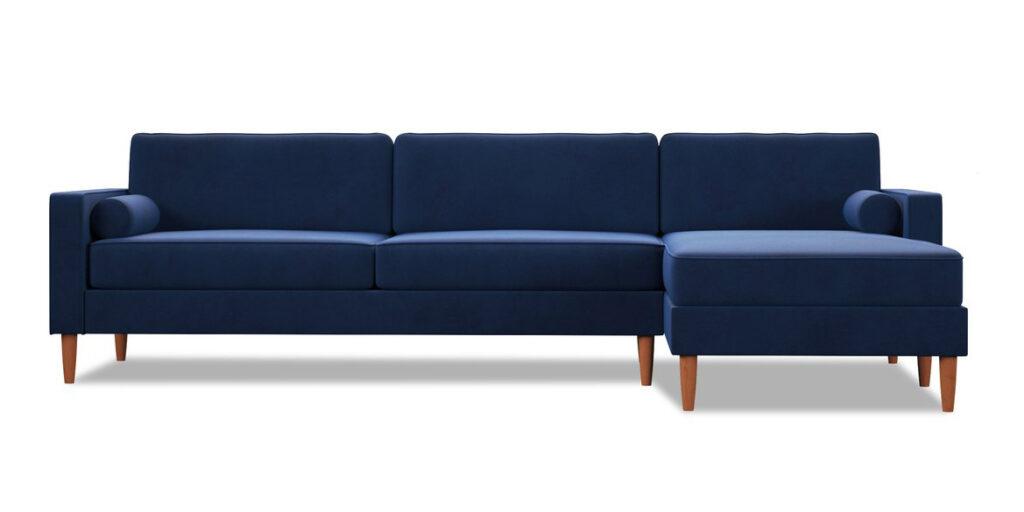 Samson 2pc Sectional Sofa in Cobalt Velvet via Apt2B