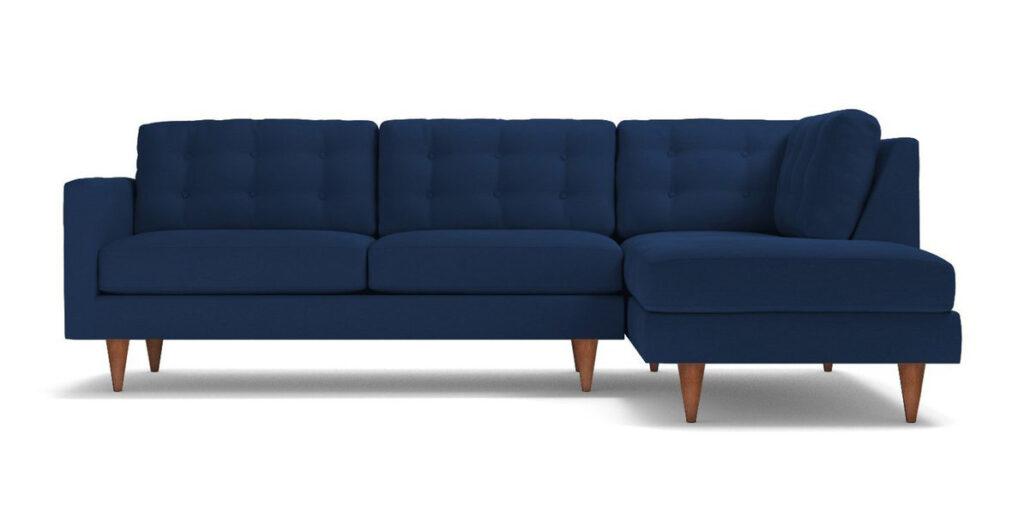 Logan 2pc Sectional Sofa in Cobalt Velvet via Apt2B