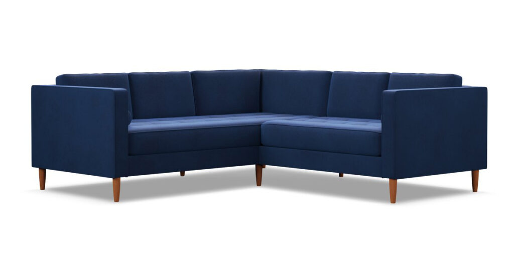 Delilah 2pc L-Sectional Sofa in Cobalt Velvet via Apt2B