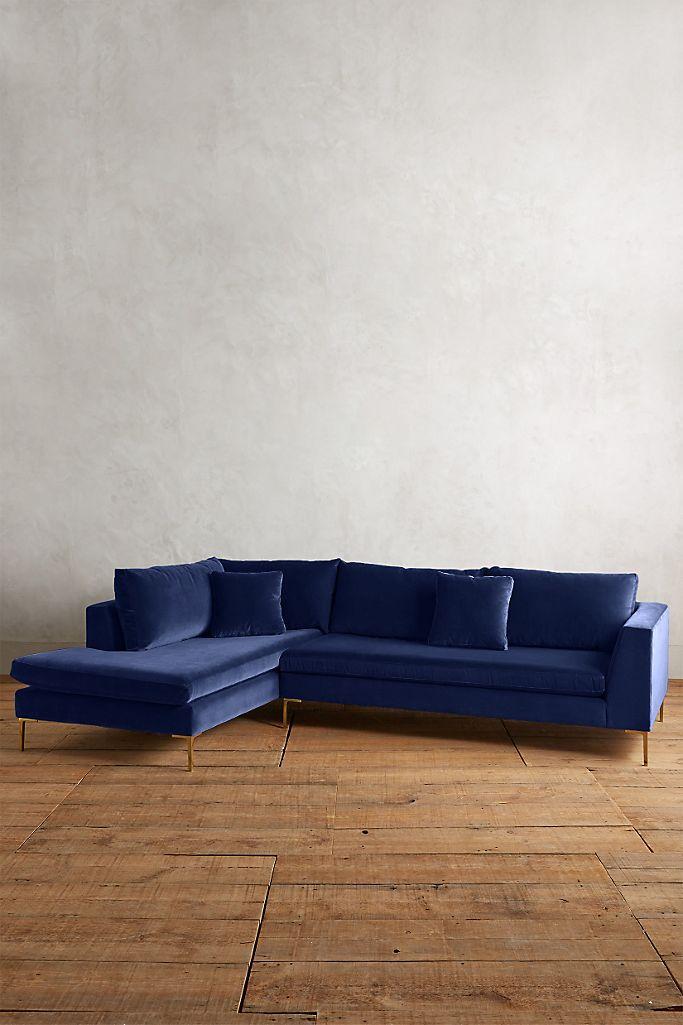 33 Navy Blue Velvet Sectional Sofas You'll Love - feat. Velvet Edlyn Left Sectional in Navy via Anthropologie