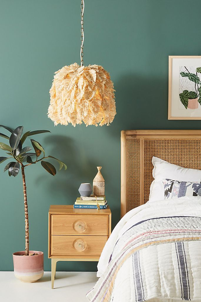 Feather macrame pendant light from Anthropologie.