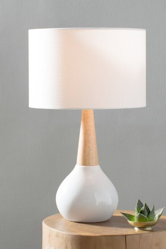 Minimal white and timber lamp from All Modern.