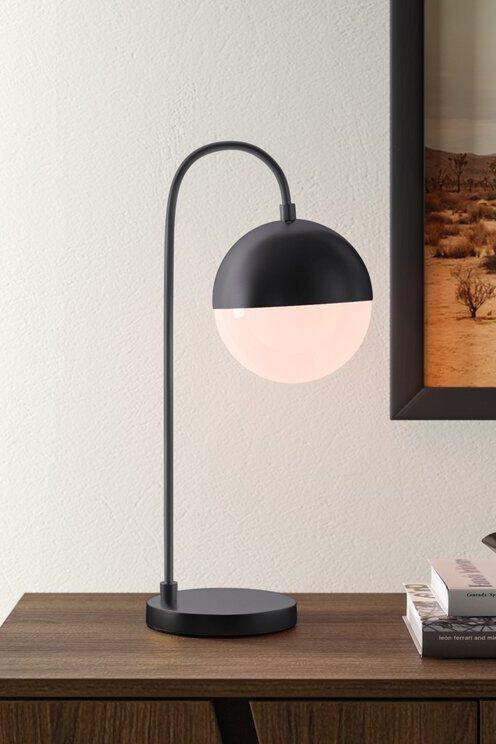 Black Mid-Century Modern inspired globe desk lamp from All Modern.