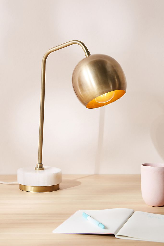 Brass and marble Mid-Century Modern inspired task lamp from Anthropologie.