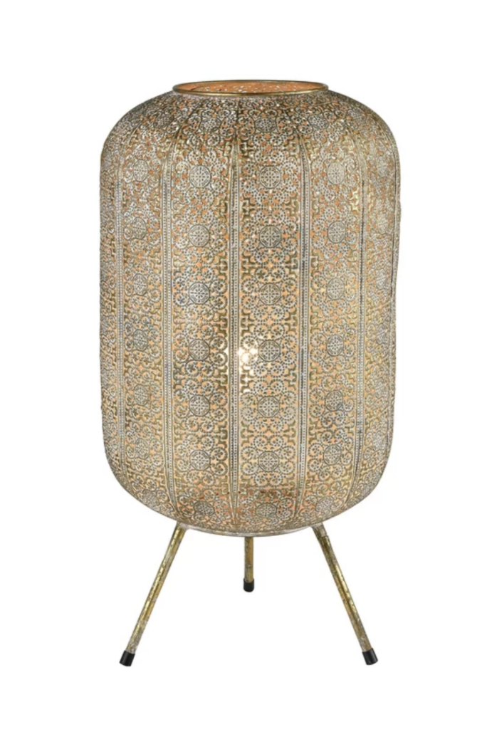 Intricate table lamp from Wayfair.
