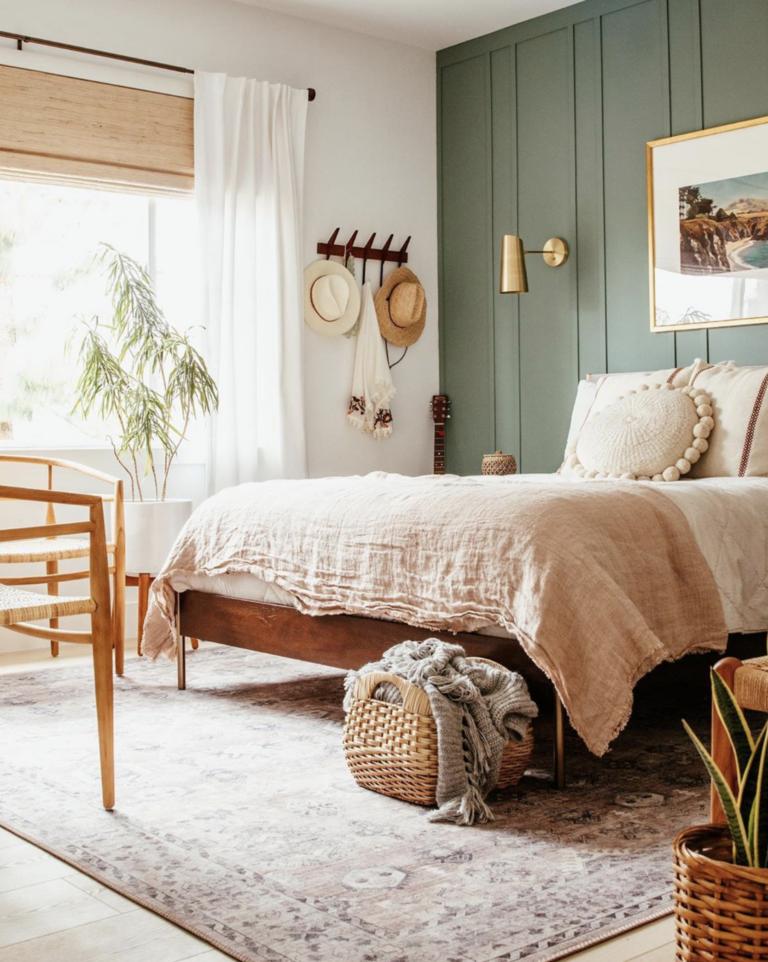 Bohemian bedroom with green gray panel accent wall, IMAGE: via @anitayokota on Instagram.
