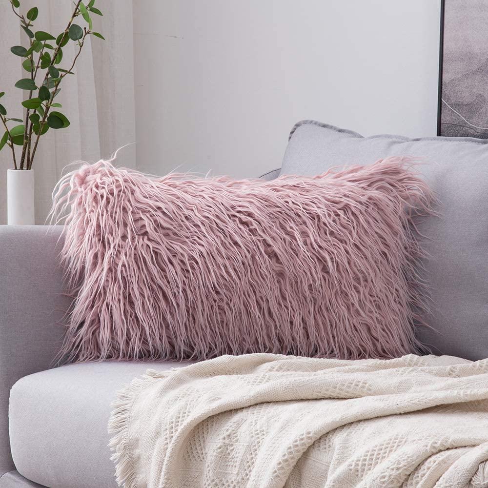 Dusty Pink Faux Fur Throw Pillow via Amazon.