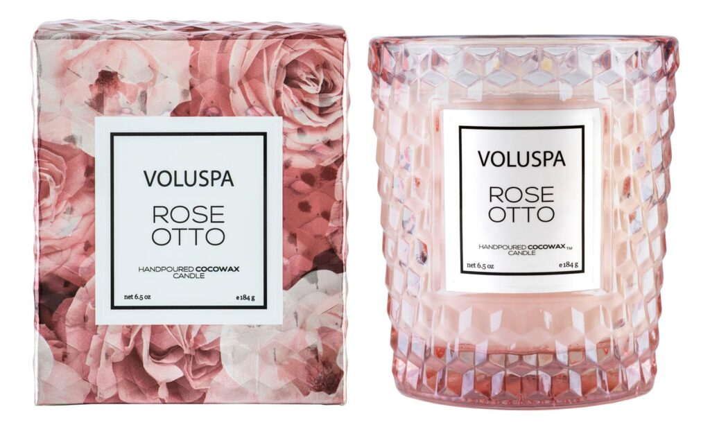 Rose Textured Glass Candle via Nordstrom.