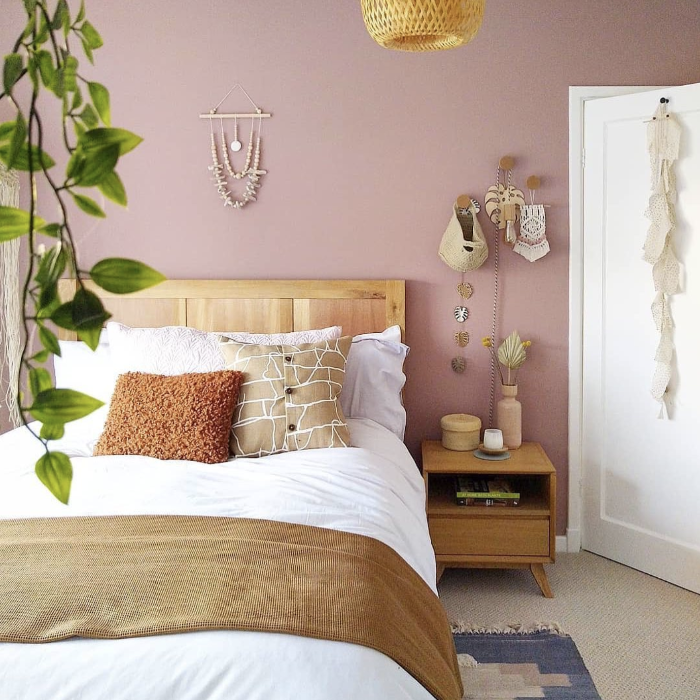Dusty Pink Bedroom and Decor Inspiration - IMAGE via @little_york_house on Instagram, feat. paint color 'Sulking Room Pink' from Farrow and Ball.