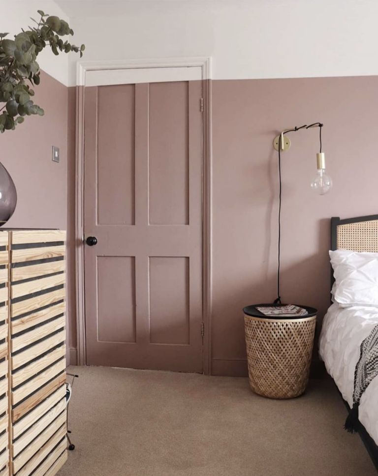 IMAGE: via @mcchills_nest on Instagram, feat. paint color 'Sulking Room Pink' from Farrow and Ball.