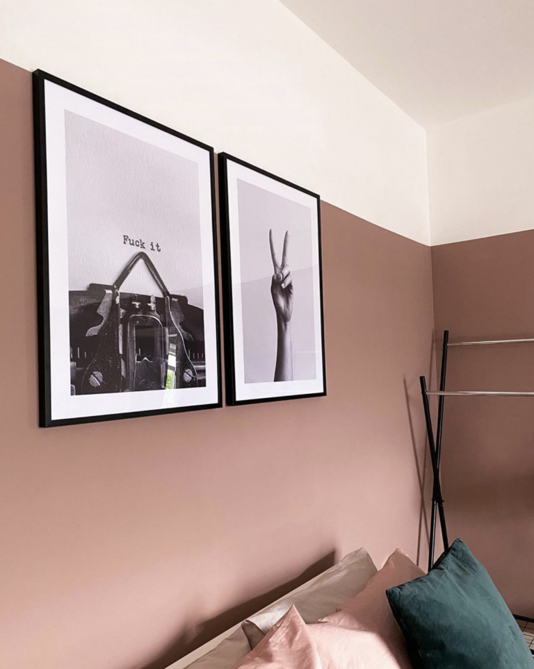 Dusty Pink Bedroom and Decor Inspiration - IMAGE via @athomewith.bec on Instagram, feat. paint color 'Sulking Room Pink' from Farrow and Ball.