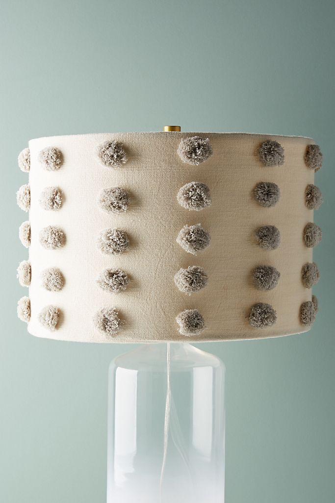 Tufted lamp shade from Anthropologie. Boho bedside lamps.