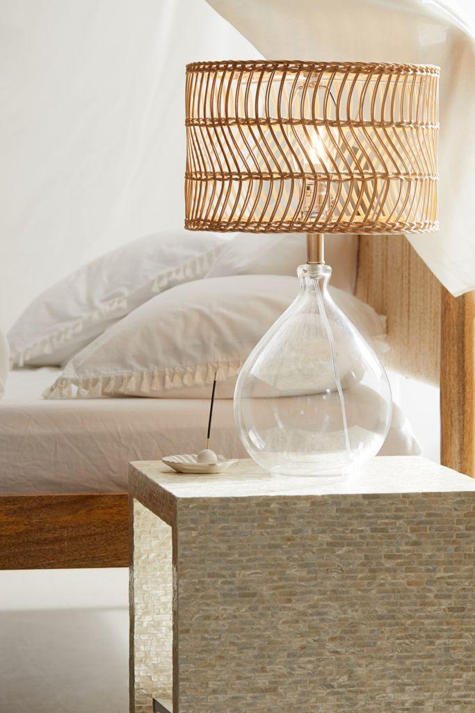 Glass and rattan tear drop Boho bedside lamp via Urban Outfitters.