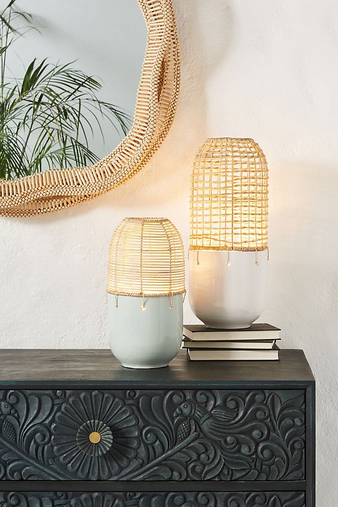 Rattan accent lights from Anthropologie, Boho bedside lamps.