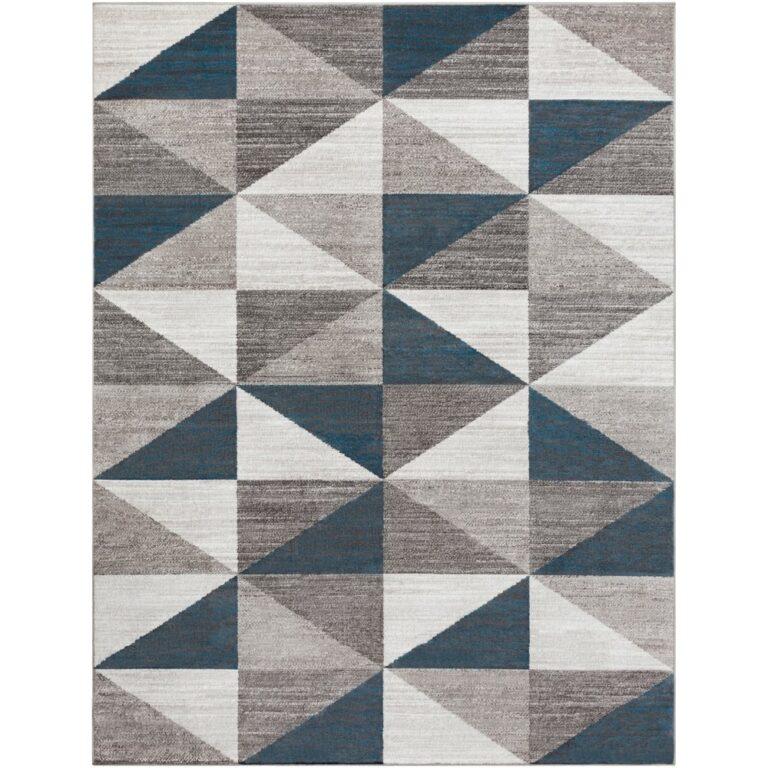 Metz Blue/Gray MidCentury Geometric Area Rug via Overstock