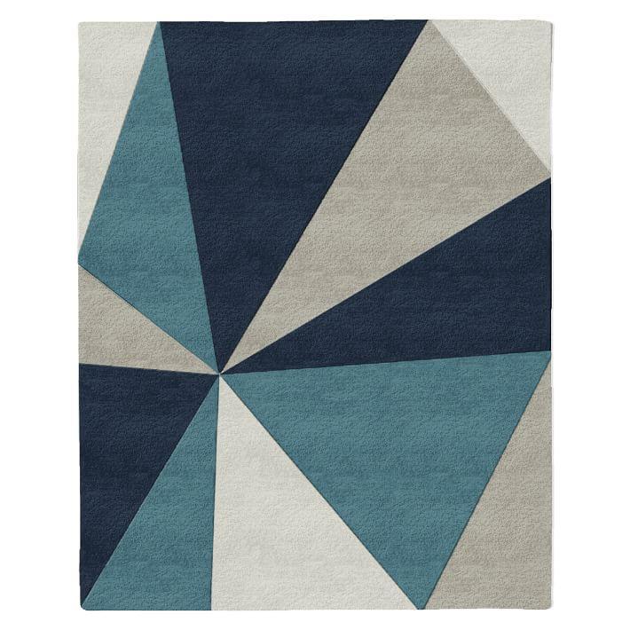 Kaleidoscope Mid-Century Modern Wool Rug in Midnight via West Elm