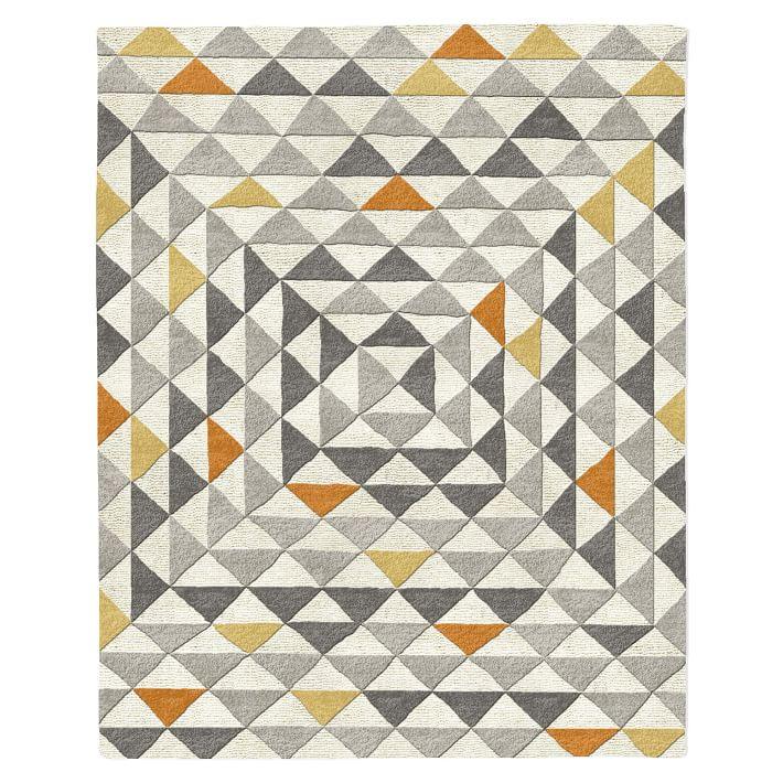 Framed Triangles Mid-Century Modern Wool Rug in Steel via West Elm