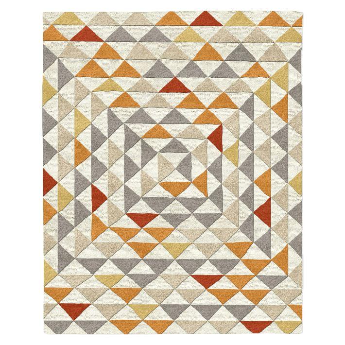 Framed Triangles Mid-Century Modern Wool Rug in Sorrel via West Elm