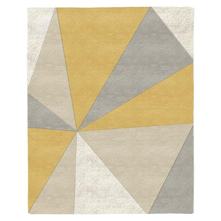 Kaleidoscope Mid-Century Modern Wool Rug in Horseradish via West Elm