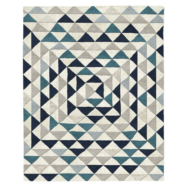 Framed Triangles Mid-Century Modern Wool Rug in Blue Teal via West Elm