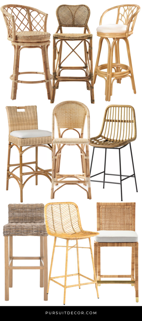 10 Stylish Modern Rattan Counter Stools with Backs - Pursuit Decor, pin for later.