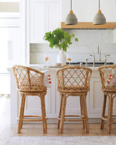 10 Stylish Modern Rattan Counter Stools with Backs - feat. Avalon Swivel Counter Stool from Serena & Lily, image via Serena & Lily.
