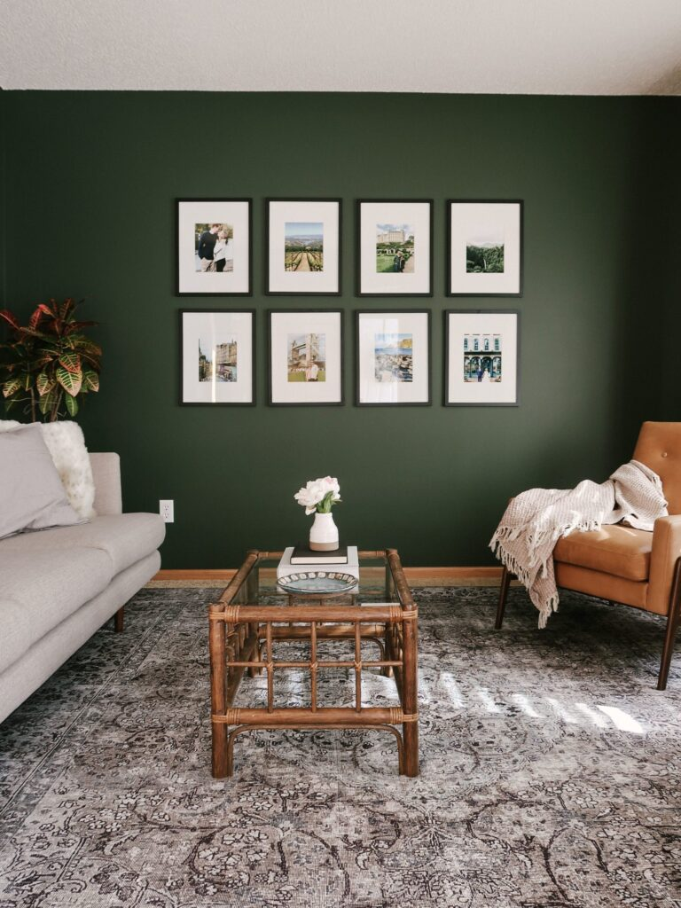 Dark Green Wall Paint Inspiration (with Swatches and Paint Names) - Image via Kitty Cotten, Paint color: Vintage Vogue by Benjamin Moore