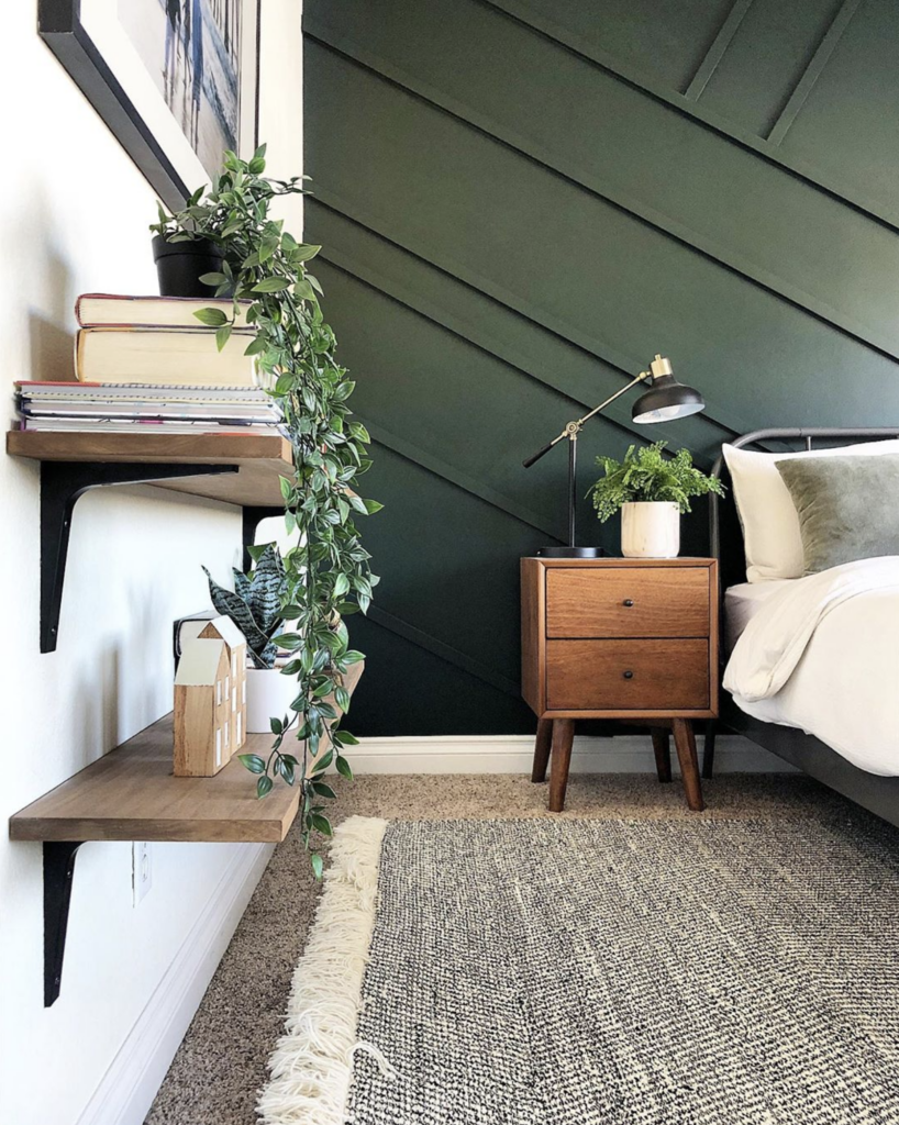 Dark Green Wall Paint Inspiration (with Swatches and Paint Names) - Image via Angela Rose Home, Paint color: Essex Green by Benjamin Moore