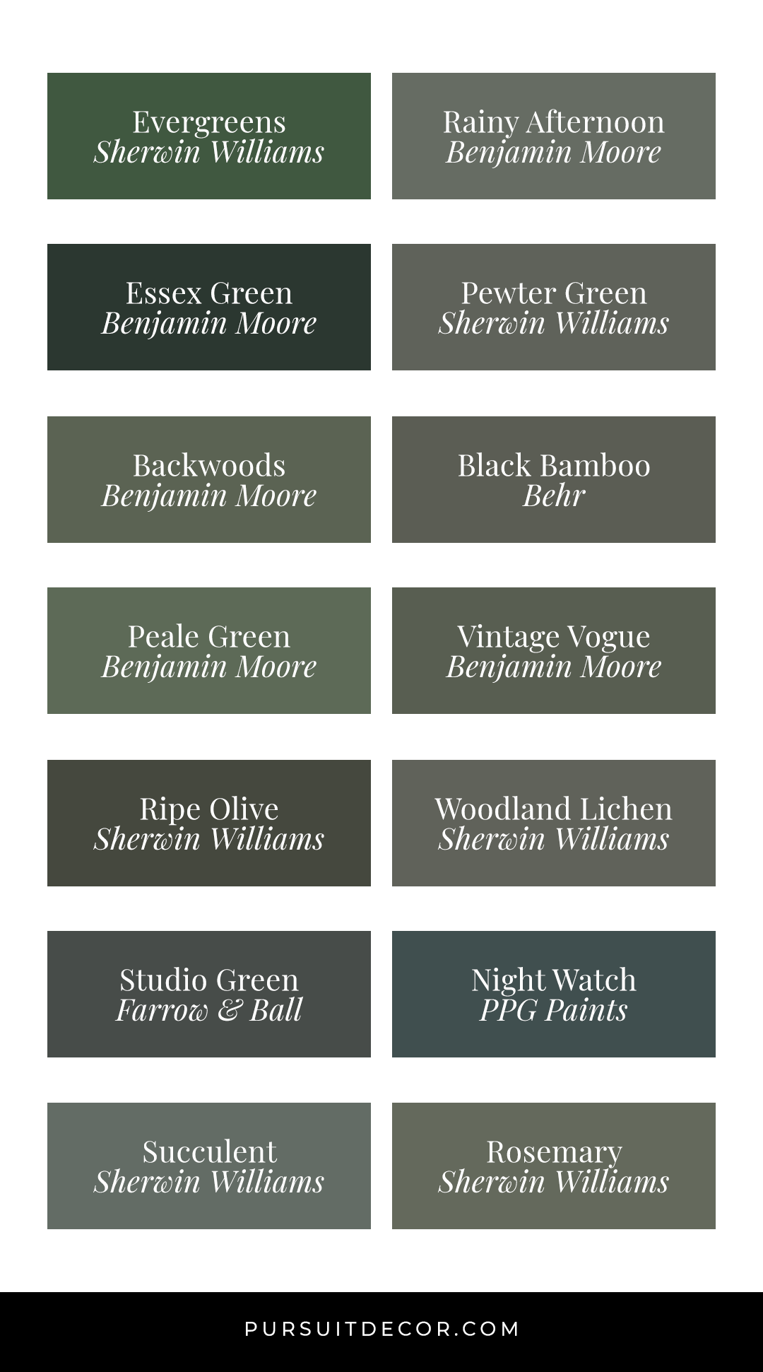 Dark Green Wall Paint Inspiration (with Swatches and Paint Names)