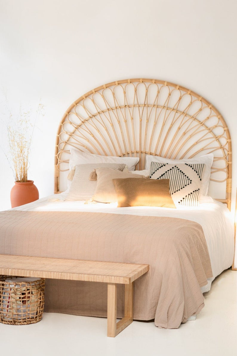 BOHO VIBES: 10 Pretty Rattan Peacock Headboards You'll Love - feat. the 'Palm' Rattan Headboard via HappyPlaceTr (Etsy)