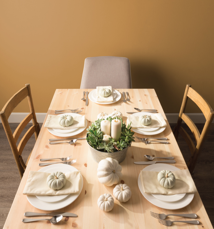 Yellow dining room, COLOR: 'Amber Autumn S290-5' from Behr Paint, IMAGE: via Behr