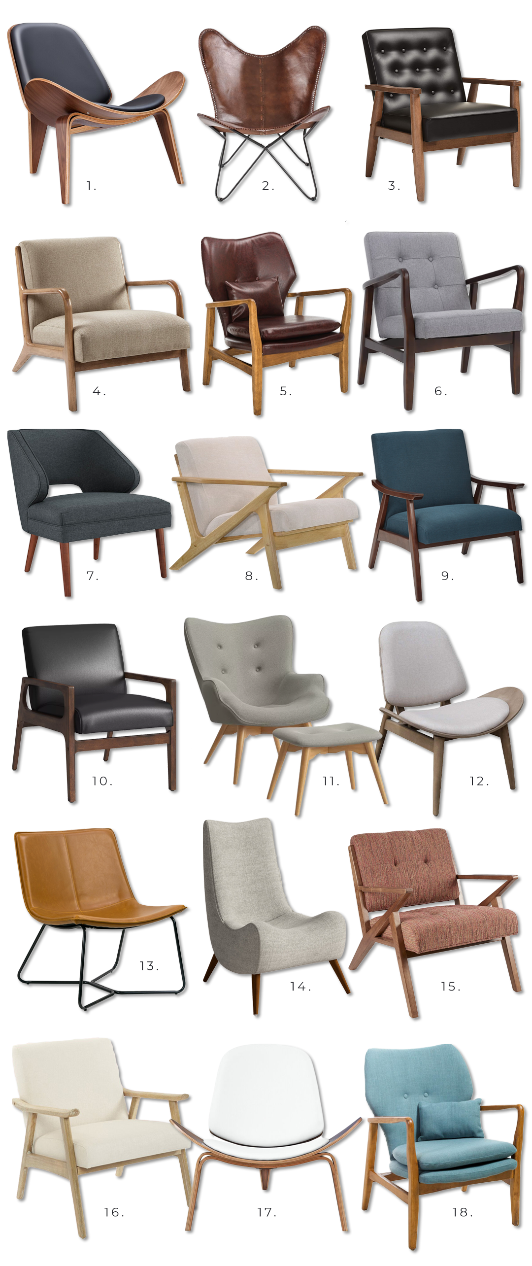 18 Gorgeous MCM Lounge Chairs Under $300 Each - Pursuit Decor. Mid Century Modern Lounge Chairs on a budget.