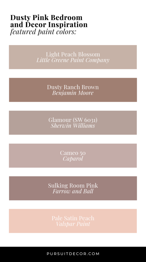 Dusty Pink Bedroom and Decor Inspiration (with paint colors) - Pursuit Decor.