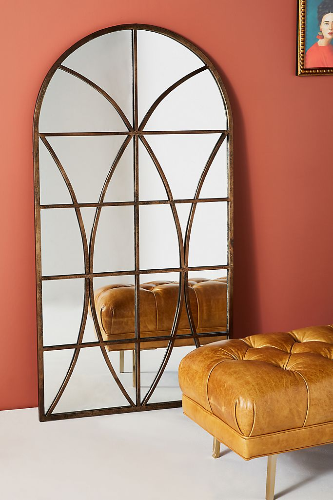 20+ Stylish Full Length Arched Mirror Options You'll Love - window frame arched mirror, image via Anthropologie, feat. 'Reese Mirror'