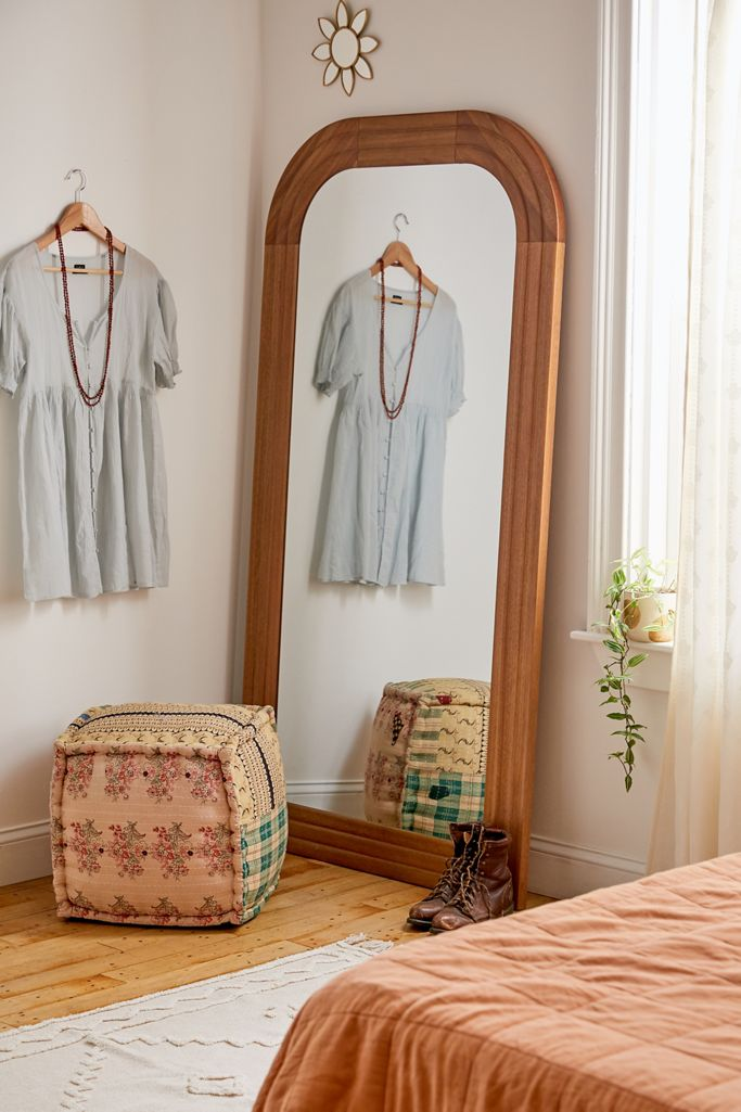 20+ Stylish Full Length Arched Mirror Options You'll Love - Boho mirror, image via Urban Outfitters, feat. 'Emelie Floor Mirror'