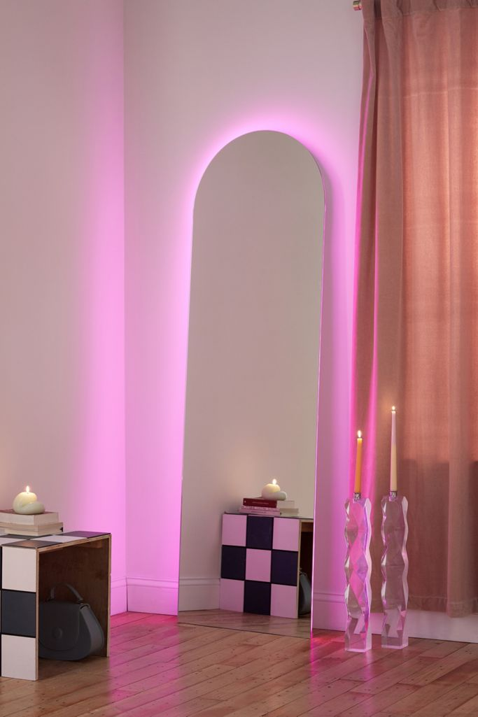 20+ Stylish Full Length Arched Mirror Options You'll Love - image via Urban Outfitters, feat. 'Yvette LED Floor Mirror'