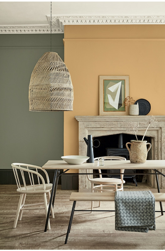 Yellow dining room, COLOR: 'Mortlake Yellow (265)' from Little Greene, IMAGE: via Little Greene