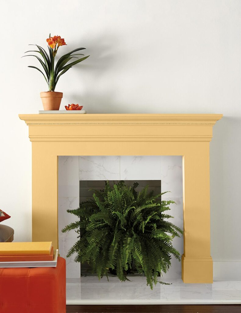 COLOR: 'Charismatic PPU6-14' from Behr Paint, yellow fireplace surround, IMAGE: via Behr