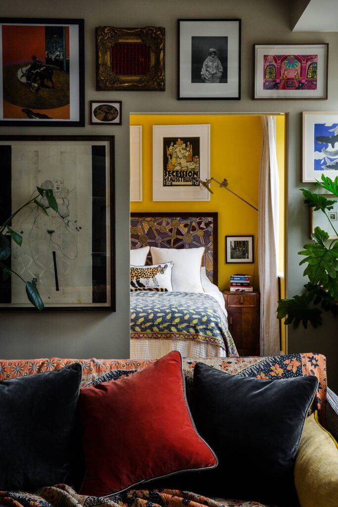 COLOR: 'Babouche' from Farrow & Ball, yellow bedroom, IMAGE: via House & Garden by Owen Gale